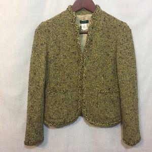 J. Crew Women's 2P Wool Tweed Green Brown Blazer